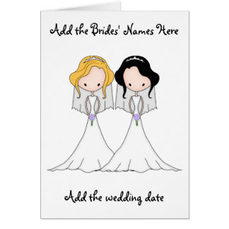 Blonde and Black Haired Brides Lesbian Wedding Card