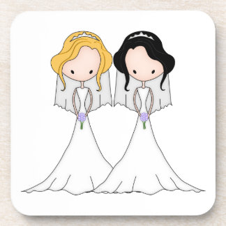Blonde and Black Haired Brides Lesbian Wedding Coaster