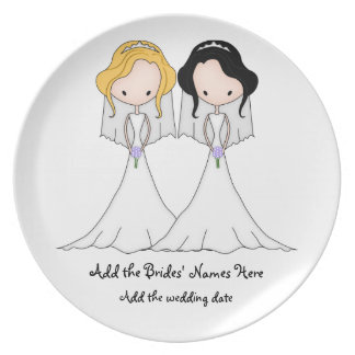 Blonde and Black Haired Brides Lesbian Wedding Dinner Plate