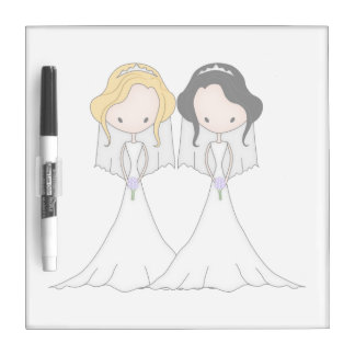Blonde and Black Haired Brides Lesbian Wedding Dry Erase Board