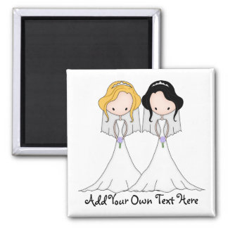 Blonde and Black Haired Brides Lesbian Wedding Magnet