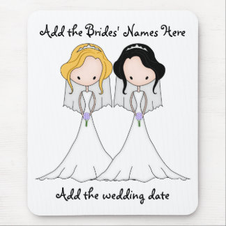 Blonde and Black Haired Brides Lesbian Wedding Mouse Pad