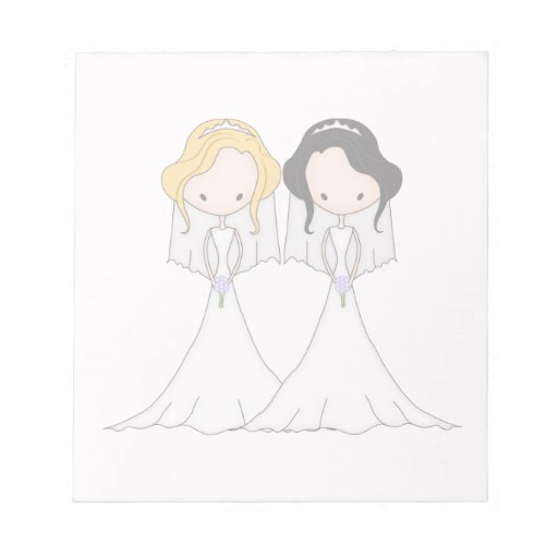 Blonde and Black Haired Brides Lesbian Wedding Memo Note Pad