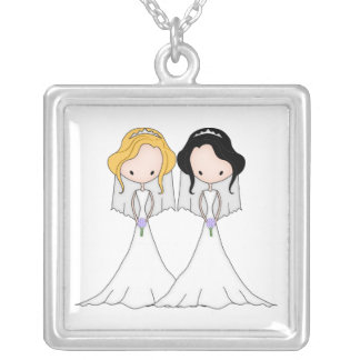 Blonde and Black Haired Brides Lesbian Wedding Square Pendant Necklace