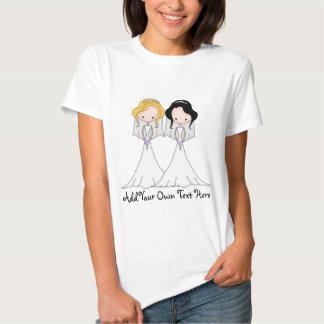 Blonde and Black Haired Brides Lesbian Wedding T Shirt