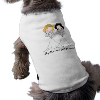 Blonde and Black Haired Brides Lesbian Wedding Tee