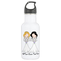 Blonde and Black Haired Brides Lesbian Wedding Water Bottle
