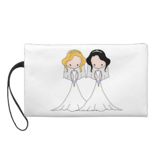 Blonde and Black Haired Brides Lesbian Wedding Wristlet Clutches
