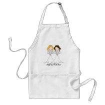 Blonde and Brunette Cartoon Brides Lesbian Wedding Adult Apron