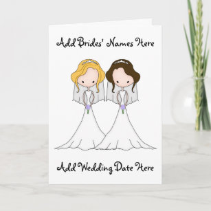 Blonde And Brunette Cartoon Brides Lesbian Wedding Invitation