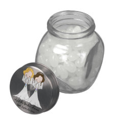 Blonde And Brunette Cartoon Brides Lesbian Wedding Jelly Belly Candy Jar at Zazzle