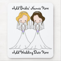 Blonde and Brunette Cartoon Brides Lesbian Wedding Mouse Pad
