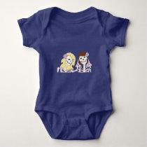 Blonde and Brunette Female Skeleton Couple Baby Bodysuit