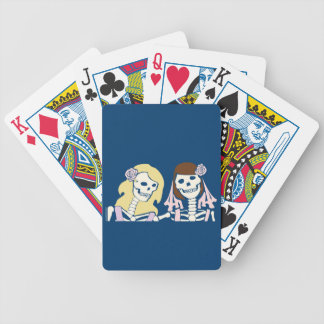 Blonde and Brunette Female Skeleton Couple Bicycle Playing Cards
