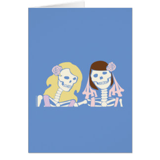 Blonde and Brunette Female Skeleton Couple Card