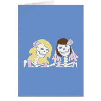 Blonde and Brunette Female Skeleton Couple Card