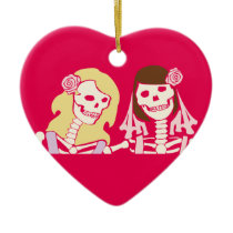 Blonde and Brunette Female Skeleton Couple Ceramic Ornament