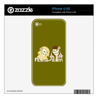Blonde and Brunette Female Skeleton Couple Decals For The iPhone 4S