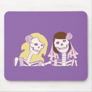 Blonde and Brunette Female Skeleton Couple Mouse Pad