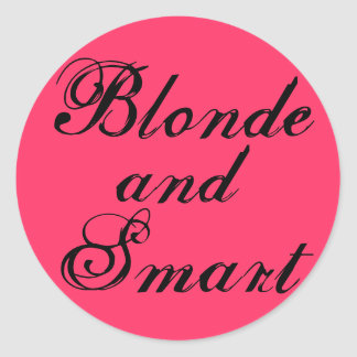 Blonde and Smart Classic Round Sticker