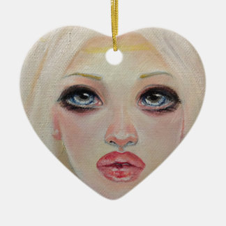 Blonde angel ceramic ornament