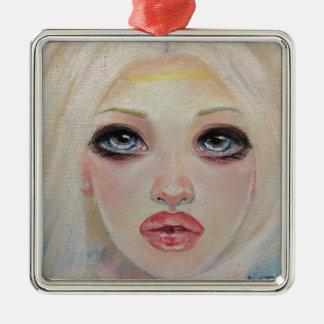 Blonde angel metal ornament
