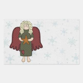 Blonde Angel with Star Rectangular Sticker