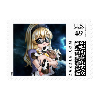 Blonde Anime Girl With Glasses and Toy Stamps