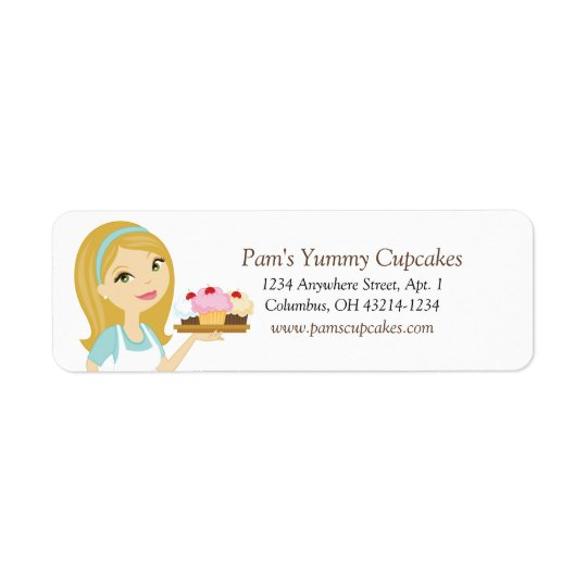 Blonde/Aqua Cupcake Baker Return Address Labels