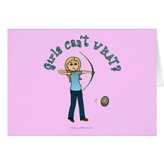 Blonde Archery in Blue Card