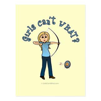 Blonde Archery in Blue Postcard