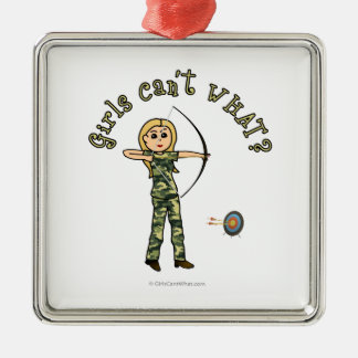 Blonde Archery in Camouflage Metal Ornament