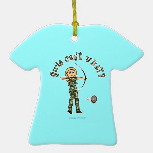 Blonde Archery in Camouflage Double-Sided T-Shirt Ceramic Christmas Ornament