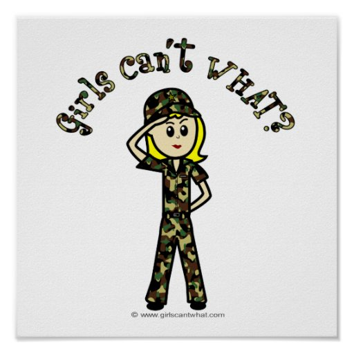 Blonde Army Woman Poster