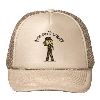 Blonde Army Woman Trucker Hat