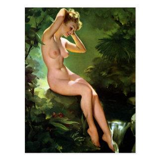 Blonde at Waterfall Pin Up Postcard