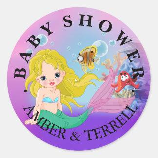 Blonde Baby Mermaid Underwater Fantasy Baby Shower Classic Round Sticker