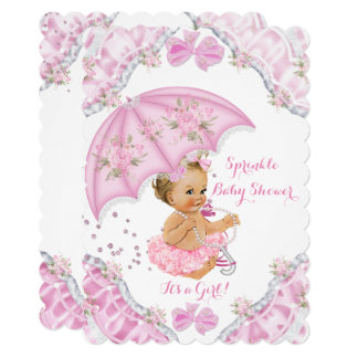 Blonde Baby Shower Pink Umbrella Girl Flowers Card