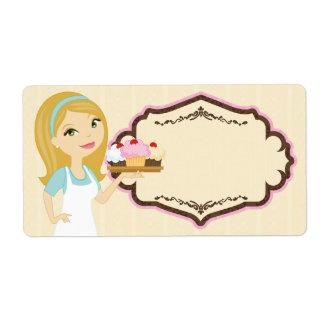 Blonde Baker Cupcake D12 Large Shipping Label 1