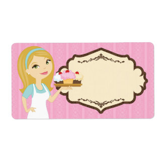 Blonde Baker Cupcake D12 Large Shipping Label 2