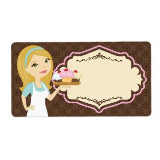 Blonde Baker Cupcake D12 Large Shipping Label 3