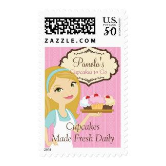 Blonde Baker Cupcake D12 Postage Stamp 1