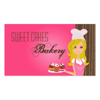 Blonde Baker on Pink Brown Cup Cakes Business Card
