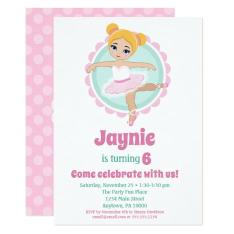 Blonde Ballerina Ballet Dancing Birthday Party Invitation