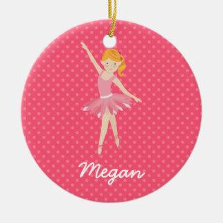Blonde Ballerina with Pink Polka Dots Ceramic Ornament