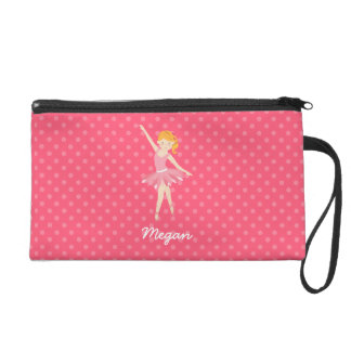 Blonde Ballerina with Pink Polka Dots Wristlet