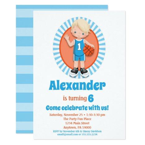 Blonde Basketball Boys Birthday Invitation
