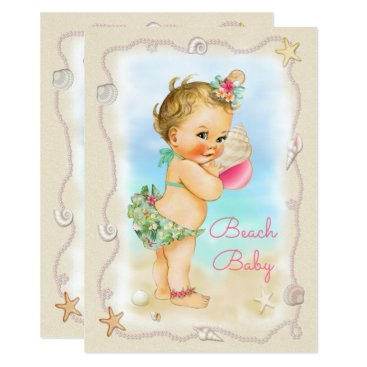 Beach Themed Blonde Beach Baby Conch Shell Baby Shower Card