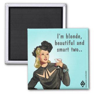 Blonde & Beautiful 2 Inch Square Magnet