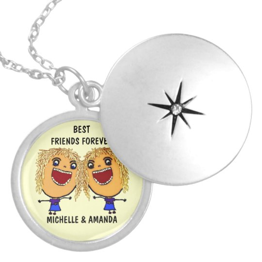 Blonde Best Friends Forever Cartoon Locket Necklace